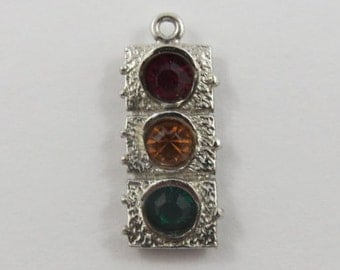 Traffic Light With Stones Sterling Silver Vintage Charm For Bracelet