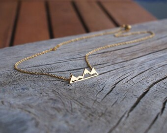 Gold Mountains Necklace, Snowy Peak Mountains Necklace, Mountains Pendant, Small Tiny Necklace, Minimal Necklace, Layering Necklace Festival