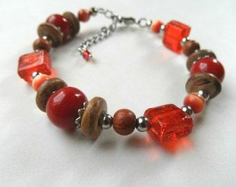 Ethnic bracelet, Beaded boho Bracelet, orange bracelet, red bracelet, wood and glass bracelet