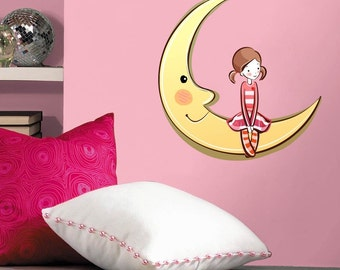 Girl With Moon Wall Decal
