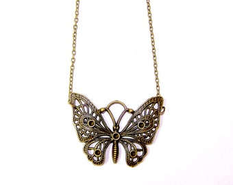 "18"" BUTTERFLY Antique Bronze Necklace with Lobster Clasp"