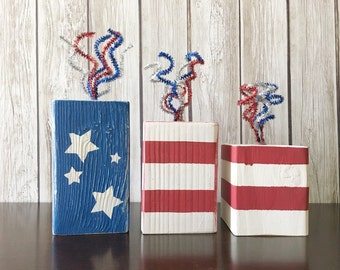 DIY Craft Kit - Create your Own - Firework Blocks - Red White and Blue - Fourth of July - USA - 4th of July - Party decor - Rustic