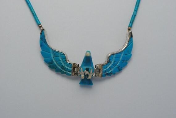 Turquoise eagle necklace vintage