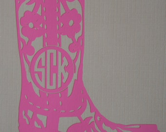 Custom Monogram Decal, Personalized decal, Cowboy Boot, Cowgirl Boot, Vinyl Decal, Cowgirl Boot Decal, Cowboy Boot Decal, Custom Color Decal