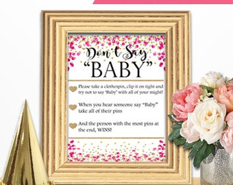 Baby Shower Game Download - DON'T SAY BABY - Rose PInk and Gold - Instant Printable Digital Download - Baby Girl - diy Princess Glitter Dots