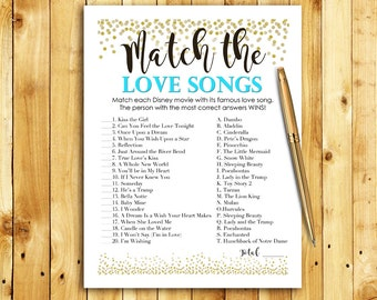 Bridal Shower Game Download - Match the Love Songs - Teal Blue & Gold - Instant Printable Digital Download - Disney Songs Turquoise Confetti