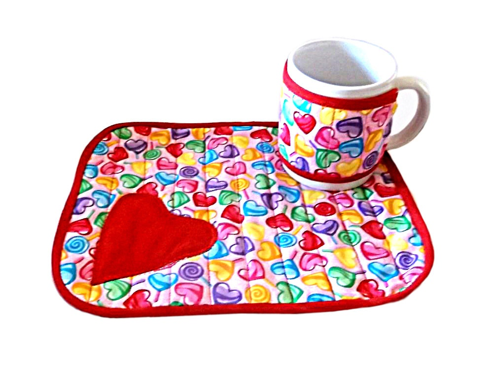Mug rug handmade snack mat quilted mug cozy valentine 39 s for Cup cozy pillow