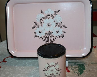 Pretty Pink and Black Decoware Floral Tray and Canister