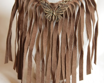 Vinlea 1- Leather Fringe with Vintage Butterfly Necklace