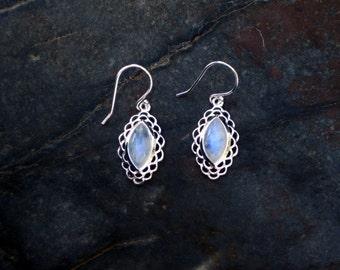 Moonstone Rainbow Marquise  Earring -#392