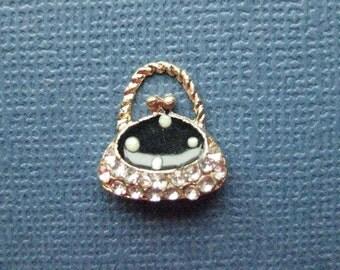 4 Handbag Charms - Handbag Pendant -  Purse Charm - Purse Pendant - Enamel - 14mm x 15mm -- (K7-11005)