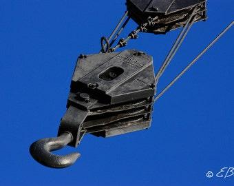 Crane Hook Photo Photograph Print Art Industrial Artwork , Metal Pulley Steam Punk