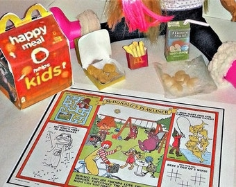 """Happy Meal 4 Piece Chicken Nugget, Apple Juice Box, French Fries, Apple Slices, Happy Meal Box and Surprise Toy! For American Girl 18"""" Dolls"""