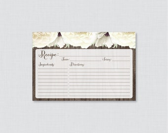 White Floral Bridal Shower Recipe Cards - Printable Rustic Recipe Card AND Invitation Insert - Wood and White Flowers Recipe Card 0017