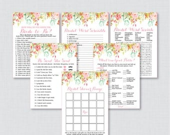 Pink Floral Bridal Shower Games Package with Six Games- Printable Pink Gold Flower Garden Bridal Games - He Said She Said, Bingo, etc 0004