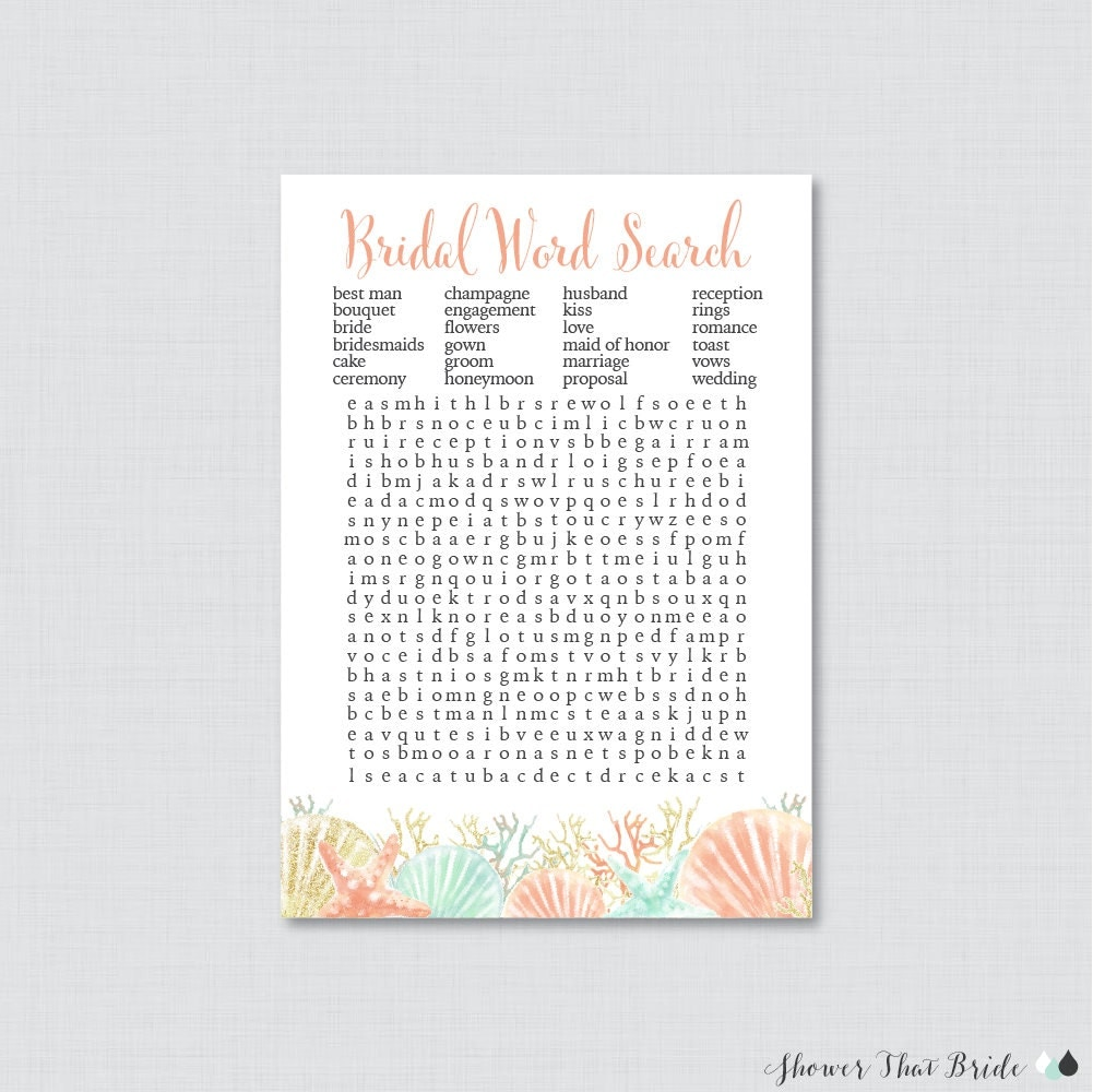 Wedding Word Search: Beach Themed Bridal Shower Word Search Printable Coral And
