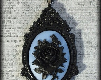 Gothic Victorian Steampunk Large Cameo Statement Necklace - Black Rose on Blue