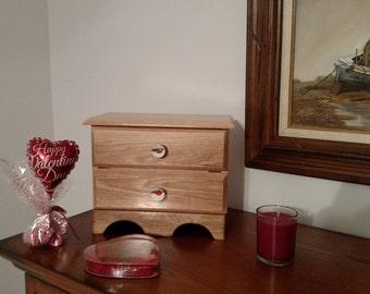 Wood dresser,make up box, new baby gift box, baby shower gift box, keepsake box, treasure box, Hickory