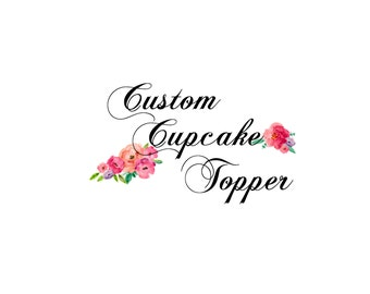 Custom Glitter Cupcake Toppers, Birthdays, Weddings, Bridal Showers, Bachelorettes, Baby Showers, Holidays- Set of 12, Various Colors