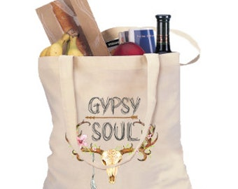 TOTE GYPSY SOUL Shopping Canvas Tote / Shopping Grocery Tote / Custom Canvas Tote / Grocery Tote