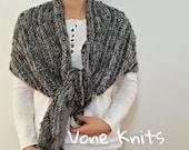 Triangle Shawl, Knit Shawl, Knit Wrap, Mohair Silk, Stripe Pattern, Mohair Wrap, Mohair Yarn, Wrap Shawl, Black Minimalist, Grey Minimalist