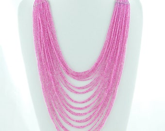 Pink Seed Beads Jewelry, Glass Seed Beads, Czech Glass Bead Necklace, Beaded Jewelry Patterns