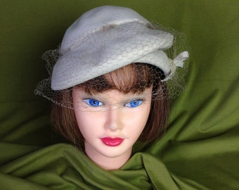 Vintage 40'S Mohn Bros Berkshire off-White Wool Hat With Net
