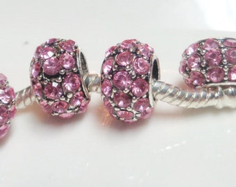 2 pink crystal charm 12x7mm - zinc alloy barrel - big hole 5mm - European style