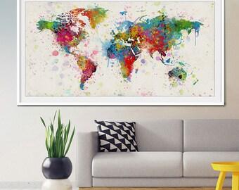 extra large watercolor world map world map art travel world map wall art