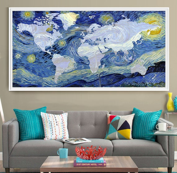 Van gogh world map poster print extra large map wall art like this item gumiabroncs Gallery