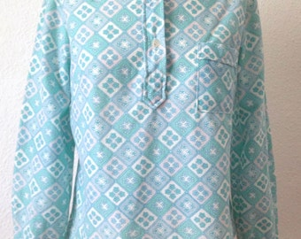 Vintage 90s Blouse | 90s Geometric Pattern Blouse | 90s Blue Blouse | Small S Medium M