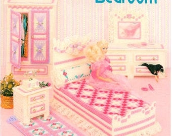 Fashion Doll Bedroom, dollhouse furniture plastic canvas pattern, fits Barbie, design by Don FranzMeier, American School of Needlework 3060.