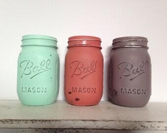 YOU CHOOSE 3: Set of 3 Pint Size Distressed Mason Jar