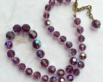 Vintage glass necklace, vintage crystal necklace, vintage wedding, aurora borealis necklace, crystal necklace, purple glass necklace,