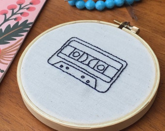 Hand Embroidered Cassette Tape Embroidery Hoop