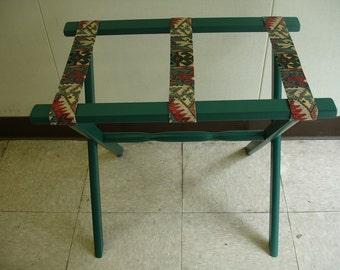 Green Luggage Stand W/ Southwestern Straps
