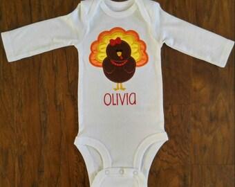 Embroidered personalized turkey bodysuit-Thanksgiving onesie-Turkey onesie-Girl turkey with eyelashes-Fall onesie