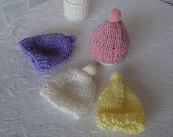 pastel knit egg cosies, egg cosy set (four), bobble egg cosies, knitted egg cosies, spring colors cosies, four knit egg cosies,egg toppers