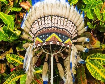 Adjustable Kids Size Artisan Feather Headdress - Costume Headpiece Inspired by Native American Headdress aka Indian Headdress - Blue & White