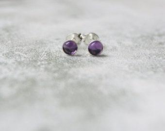 Tiny Amethyst Stud Earrings with Sterling Silver Earring Posts, Genuine Birthstone Earrings, February Birthstone Stud Earrings