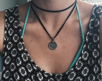 Double Wrap Vintage Coin Necklace (BLACK)
