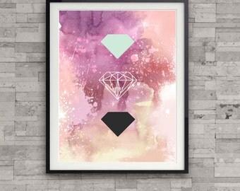 watercolor abstract diamond print, diamond illustration, abstract painting, home wall decor, modern art print, gem print, wall art