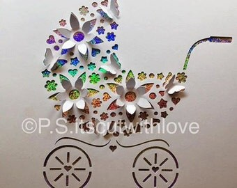Pop up Pram, Baby carriage, Buggy, Pushchair SVG