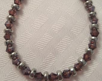 Dark Purple & Silver Bracelet - Dark Purple Bracelet - Purple Bracelet - Glass Bead Bracelet - Women's Bracelet - Women's Purple Bracelet