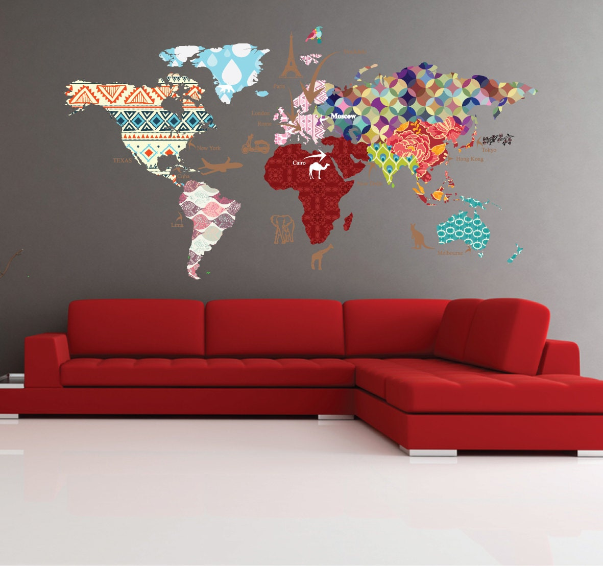 Cultural world map decal pattern map wall decal clear vinyl zoom amipublicfo Gallery