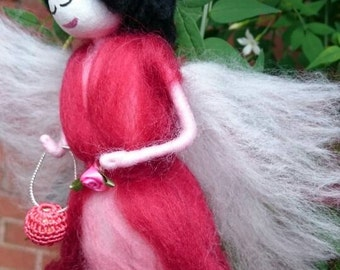 Unique Wool Felt Fairy.Scarlet.  Wool Felt Faerie