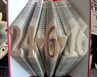 Folded Book Art, First Anniversary Gift, 1st Wedding Anniversary, Paper Anniversary, Gift for Him, Wedding Date Book, Regalo de Aniversario