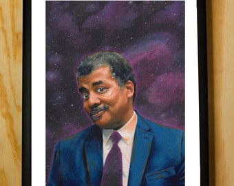Neil deGrasse Tyson Cosmos Handmade Color Pencil Portrait Fan Art Poster Print with Quote