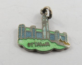 Enameled Parliament Building and Peace Tower Ottawa Canada Sterling Silver Charm or Pendant. BM Co.