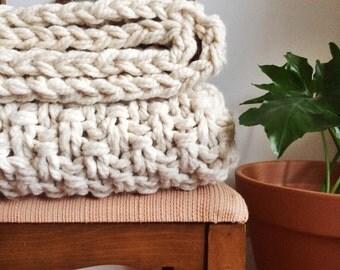 HSFN Sweater Blanket | White Chunky Knit Blanket | Wool Knit Blanket | Chunky Knit Throw | Hand Knit Blanket